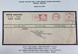 1949 Dublin Ireland Meter Cancel airmail Cover To Boston MA Usa Aer Lingus