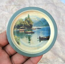 VINTAGE BEAUTIFUL NATURE VIEW PRINTED TIN WALL DECORATIVE  PLATE