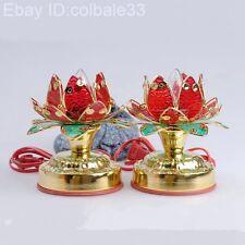 2pcs/set Worship Buddha lotus lamp Buddhist Colorful lights Tibet Artifact lucky