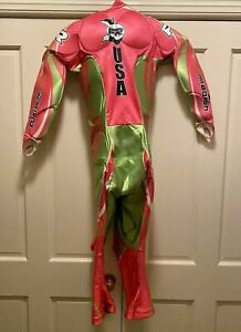 FUXI Padded GS Ski Race Suit, Bright Pink & Lime Green, Womens Size Medium