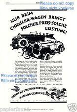 Chrysler Detroit Reklame von 1926 Importeur Quarles Hamburg Werbung ad