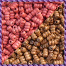 100 Perles Legno Tubo 2 coloris Marrone chiaro / Rosso