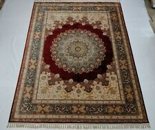 Scarlet Red Super Fine Silk Rug 9x12 Traditional Radiant Medallion Rug 484 KPSI