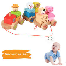 Wooden Rocking Farm Animals Pull Train Toy Baby Rock Baby Toys Gift For Toddler