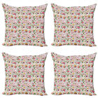 Ambesonne Vintage Themed Cushion Cover Set of 4 for Couch and Bed in 4 Sizes