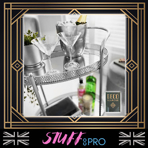 🌈 Deco Glamour Drinks Trolley Silver Hostess Cocktail Mirrored Shelves Art Deco