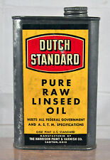 Vintage Dutch Standard Pure Raw Linseed Oil Can Garage Advertising Collectable
