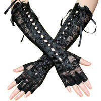 Women's Gothic Black Sexy Elbow Length Fingerless Lace Gloves Lace Up Arm Warmer