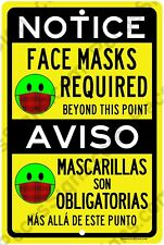 "Notice Face Masks Required in English & Spanish 8""x12"" Aluminum Sign Made in USA"