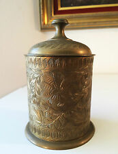 Engraved Solid Brass Canister Trinket Box Tea Caddy w Lid, Floral Design INDIA
