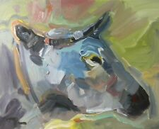JOSE TRUJILLO - ORIGINAL Oil Painting EXPRESSIONISM FAUVIST Cow ANIMAL MODERNISM