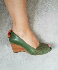 Staccato Ladies shoes size 5 Wedges Heels Peep Toe Leather Green Orange Summer