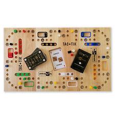 Jeu de TAC★TIK en bois avec plateau modulable pour 2, 3, 4 ou 6 joueurs + cartes