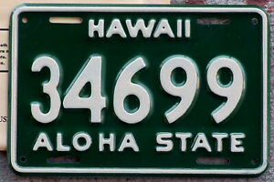 1961 White on Green Hawaii Motorcycle License Plate MINT