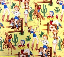 AH263 Sexy Pin Up Cowgirls From The Hip Rodeo Western Boots Cotton Quilt Fabric