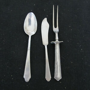 Three Sterling Silver Pieces Meat Fork, Serving Spoon and Butter knife not Match