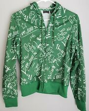 Voice Jacket Green Kids Size LG With Words On It (peace,pretty,love,100%,no!)