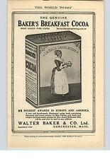 1909 Paper Ad Walter Baker & Co Baker's Breakfast Cocoa Dorchester, MA