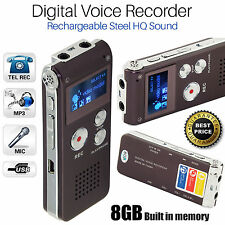 Rechargeable Digital Sound Recorder 8GB Steel Voice Dictaphone MP3 Player Record
