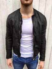 All Saints COLLIDE Leather Biker Jacket LARGE Black Joey Essex Tight Slim Fit