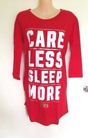 NWT Victoria's Secret PINK Sleep Tee Shirt Pajama Nightie Gown Red Size XS/M
