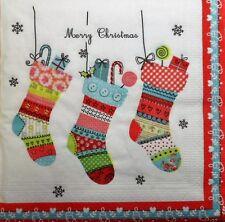 4x solo papel Servilletas Regalos De Navidad Calcetines Decoupage Artesanía 67