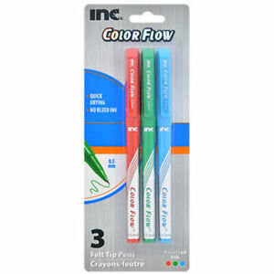 New Inc. Color Flow Felt Tip Pens .5 mm, Pack of 3 (Red Blue Green Ink) ~ Qty 1