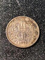 1893 Austria 1 Corona Ch Slider Uncirculated