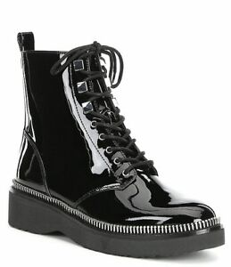 Michael Kors Haskell Combat Lug Sole Boots Patent Leather Ankle Booties 8.5