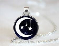 Moon and Stars Tibetan silver Dome Glass Art Chain Pendant Necklace