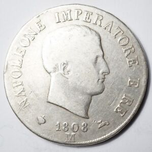 NAPOLEONIDES - ITALIE : 5 LIRES 1808M DE NAPOLEON Ier TRANCHE RELIEF