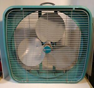Vtg Working Dominion USA Made Aqua Metal Box Fan 2 Speed