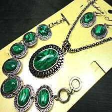5sets Pretty Malachite Stone Bracelet Earrings Necklace 3 in 1 Jewelry Sets