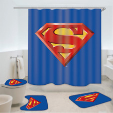 Superman Bathroom Mat Shower Curtain 4PCS Non-Slip Foot Mat Toilet Lid Cover Rug
