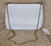 Vintage Whiting & Davis Co. Mesh Purse Bag White With Gold Chain Elegant Formal