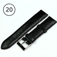 Black  Genuine Leather Watch Strap Band Mens Stainless Steel Buckle 20mm LEZAR