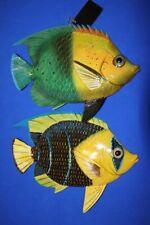 "(2) Coral Reef Kids Bathroom Decor Tropical Fish Wall Hangings, 12"", F-49 F-50"