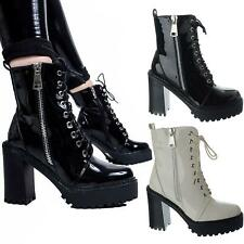 Womens Ladies High Block Heel Zip Lace Up Chunky Platform Ankle Boots Shoes Size