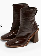 NEW TOPSHOP REAL LEATHER CROC HERTFORD BURGUNDY BOOTS UK SIZE 4 EUR 37 RRP £89