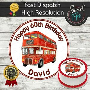 ROUTE MASTER BUS EDIBLE ROUND BIRTHDAY CAKE TOPPER DECORATION PERSONALISED