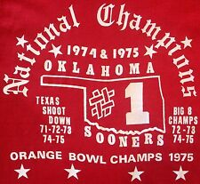 Vintage 1974/1975 OU Oklahoma Sooners Football National Champions Red T-Shirt M