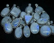 1000pcs Pendants Rainbow Moonstone Gemstone 925 Sterling Silver Plated Wh-15