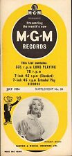 MGM RECORD CATALOGUE SUPPLEMENT 84 july 1956 robbin hood/audrey williams/etc