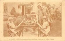 Maude Newman, Gloria & Peggy Lloyd Rug Making Long Beach, CA c1920s Postcard