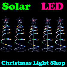 5 Solar LED Multicolour Spiral Christmas Tree Flashing Outdoor Multi Path Lights