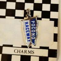 Vintage Pocono Raceway Souvenir Flag Charm Cloisonné Enamel Unmarked w/Card