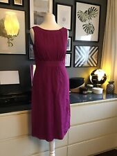 Monsoon 8 Dress Pink Silk Cotton Pencil Event Office Occasion Empire