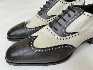 Max Verre Suede Leather Spectator Wingtip Oxford Shoes Sz UK 8, US 9 Tom Ford
