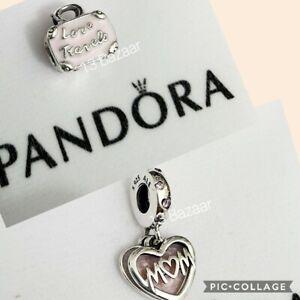 Authentic Pandora Pink Travel Bag OR Pink Mum Script Heart Dangle Charm S925 ALE