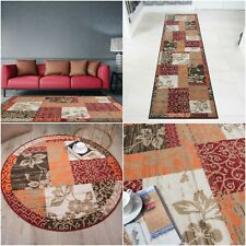 Red Terracotta Patchwork Living Room Rug Soft Traditional Non Shed Area Rugs UK